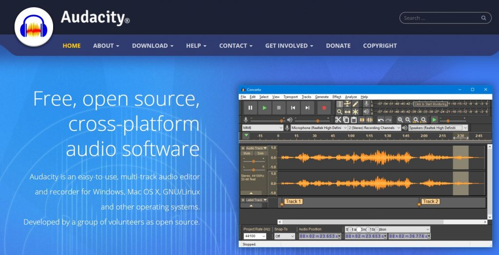 Audacity - open source audio recording and editing software